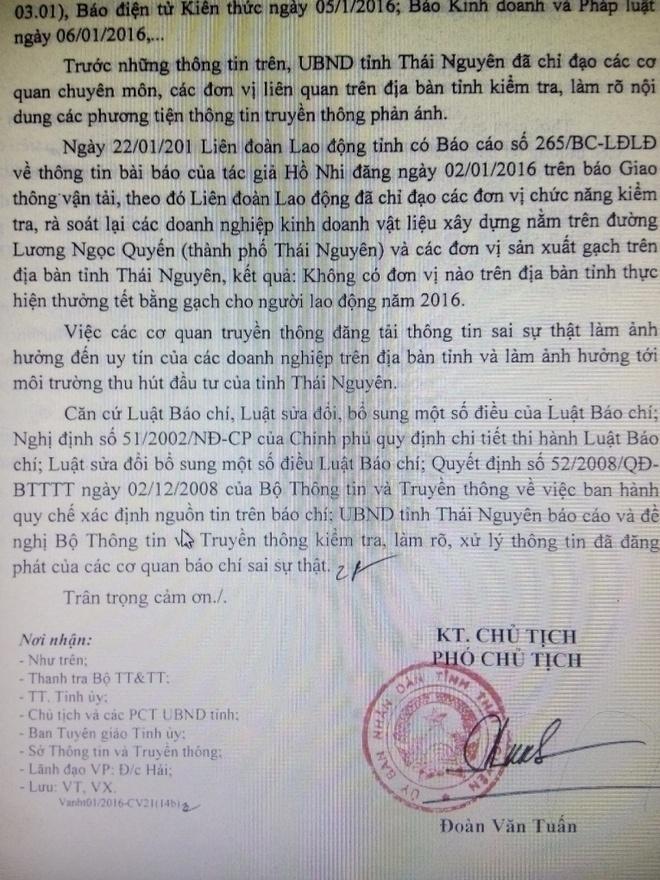 Khong co chuyen thuong Tet bang gach tai Thai Nguyen hinh anh 1