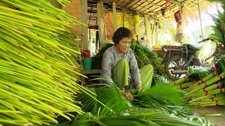 Chang trai kiem 5 ty dong moi nam tu la cay hinh anh 3 Công nhân trong xưởng đang phân loại lá trước khi xuất bán.