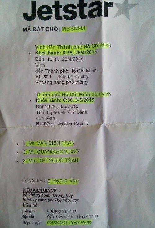 Jetstar bo roi nguoi khuyet tat, Cuc Hang khong len tieng hinh anh 2 Mã đặt chỗ của khách hàng Trần Thị Ngọc, Cao Quang Sơn và Trần Văn Diễn trên chuyến bay của Jetstar Pacific.