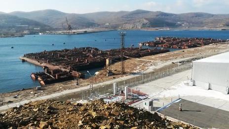Các lò phản ứng hạt nhân của Nga được lưu trữ tại bến cảng tại Vladivostok. Ảnh: BF