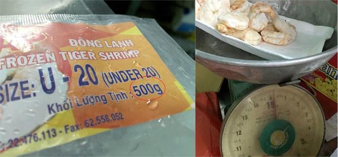 Gói tôm sú bán trong siêu thị trên bao bì ghi rõ trọng lượng là 500 gam, nhưng khi cân còn 200 gam.