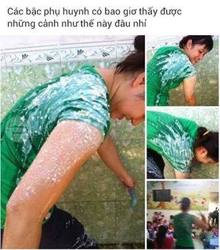 Hình ảnh cô giáo mầm non bị nôn trớ đầy người được anh Nguyễn Đoàn chia sẻ