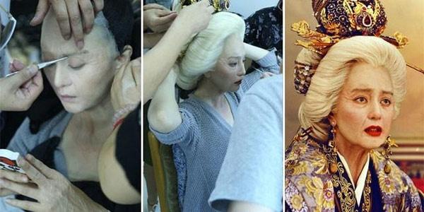 Để tạo ra hình ảnh một Võ Tắc Thiên 82 tuổi, Phạm Băng Băng đã mất 7 tiếng cho các chuyên gia trang điểm hóa trang.