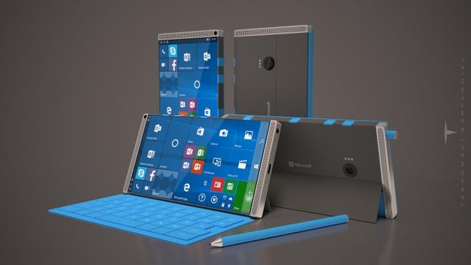Y tuong Microsoft Surface Phone dung 4 loa, RAM 8 GB hinh anh