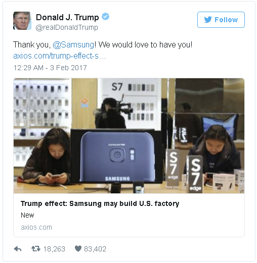 Donald Trump cam on Samsung vi xay nha may o My hinh anh 1