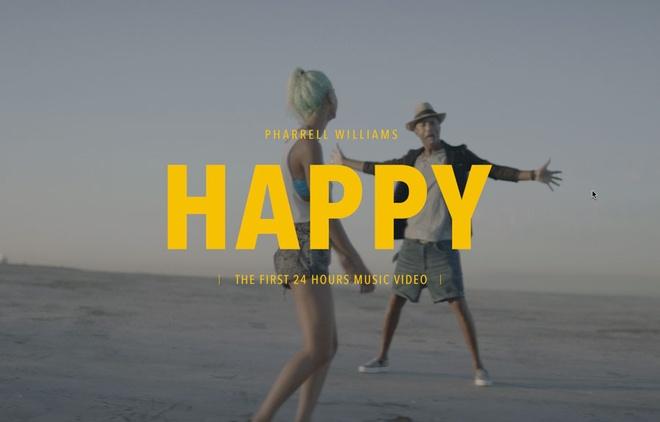 'Happy' cua Pharrell Williams dinh nghi an dao y tuong hinh anh 1 Happy là ca khúc đầu tiên có video clip kéo dài 24 tiếng trên thế giới.