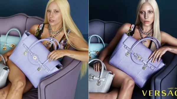 Nhung 'tai nan' photoshop moi cua sao Hollywood hinh anh 8 Giữa tháng 4 vừa qua, bức ảnh gốc mà Lady Gaga chụp quảng cáo cho hãng Versace bị rò rỉ trên mạng. Trái ngược với hình ảnh được công bố trước đó, bức hình chưa chỉnh sửa cho thấy nữ ca sĩ Born This Way trông khá già và nhợt nhạt cũng như lên cân hơn nhiều khi chưa được trau chuốt.