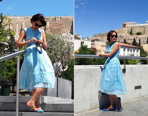 Hồng Ánh chia sẻ, tới Santorini cô mới được chiêm ngưỡng nước biển xanh trong vắt, phong cách thiết kế nội thất đậm chất vintage ở nơi đây cũng khiến cô thích thú. Gần Santorini có một miệng núi lửa và các dòng nước nóng thu hút du khách.