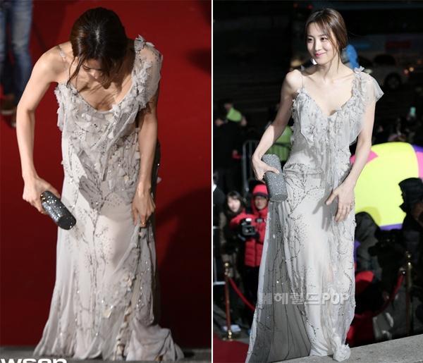 Soo Hyun liên tục phải kiểm tra váy khi di chuyển.