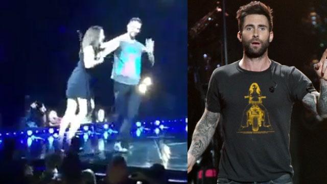 Adam Levine bi fan tan cong trong live show hinh anh
