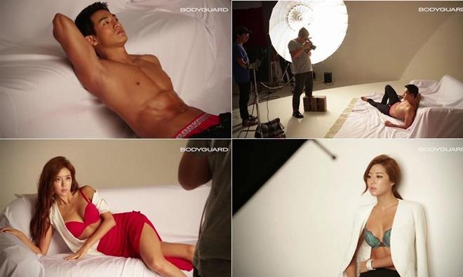 Anh thoi trang khong can photoshop cua sao Han hinh anh 7 Ảnh hậu trường từ buổi chụp hình của tài tử Jung Suk Won và người đẹp Park Han Byul cho tạp chí GQ cho thấy cả hai đều sở hữu thân hình chuẩn, cân đối. Bộ ảnh của hai ngôi sao không khiến ê- kíp GQ mất nhiều thời gian để can thiệp chỉnh sửa.