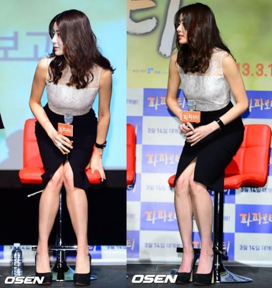 Vay xe ho henh cua my nhan Han hinh anh 8 Dù mang đến vẻ gợi cảm nhưng chi tiết xẻ tà khiến Kang So Ra gặp khó khăn khi ngồi, cô buộc phải khép nép hai chân.