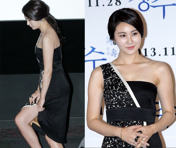 Vay xe ho henh cua my nhan Han hinh anh 7 Chân váy xẻ khiến kiều nữ Son Eun Seo lo lắng luôn phải giữ lấy hai bên mép để tránh sự cố.