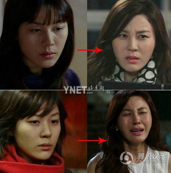 My nhan Han mat cung do, bien dang vi tham my hinh anh 7 Kim Ha Neul thời đóng phim Dương cầm cách đây hơn 10 năm (trái) và hiện nay. Cô bị cho ngày càng giống...tượng sáp.
