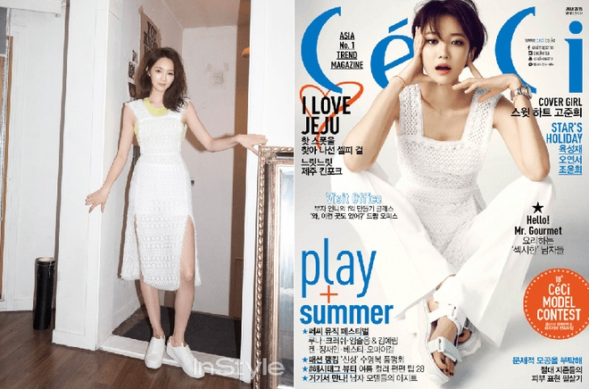 My nhan Han moi nguoi mot ve khi dung hang hinh anh 10 Dù cùng chung bộ váy trắng Kang Min Kyung và Go Joon Hee gây ấn tượng theo cách riêng. Thành viên Davichi mặc bên ngoài áo 3 lỗ vàng, phối với sneakers trắng, Go Joon Hee mặc cùng với quần trắng và đi sandal đế thô.