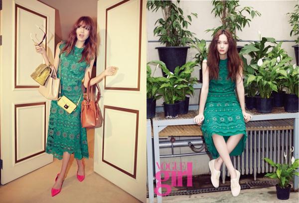 My nhan Han moi nguoi mot ve khi dung hang hinh anh 3 Cùng một chiếc váy màu xanh nhưng Sooyoung và Krystal phối giày khác biệt. Thành viên SNSD tạo vẻ nữ tính với giày cao gót nổi bật, Krystal trẻ trung nhờ sneakers trắng.