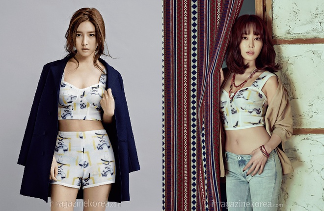 """My nhan Han moi nguoi mot ve khi dung hang hinh anh 7 """"Nàng Cháo"""" Kim So Eun sành điệu khi diện set đồ họa tiết gồm áo crop top và shorts, kết hợp với áo khoác ngoài. Nữ diễn viên Kang Ye Won chọn quần jeans mặc kèm với crop top và khoác hờ sơ mi."""
