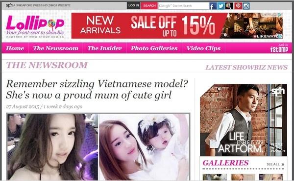 Elly Trần và cô con gái đáng yêu trở thành gương mặt được yêu thích trên một trang báo Singapore. Tờ Lollipop nhận định mẹ con Cadie đẹp hoàn hảo.