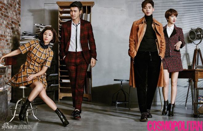 My nhan Han pha cach tren tap chi thang 10 hinh anh 1 Trên ấn phẩm Cosmopolitan số mới, Choi Si Won, Park Seo Joon, Hwang Jung Eum và Go Jun Hee có dịp hợp tác.