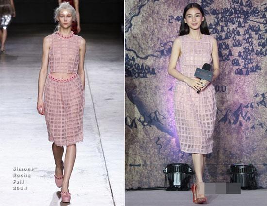 Boc mac loat vay hieu moi cua Angelababy hinh anh 2 Bộ váy xuyên thấu gam màu pastel từ thương hiệu Simone Rocha cũng lọt vào