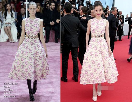 Boc mac loat vay hieu moi cua Angelababy hinh anh 3 Nữ diễn viên đáng yêu trên thảm đỏ với bộ váy hiệu Christian Dior mùa xuân 2015.
