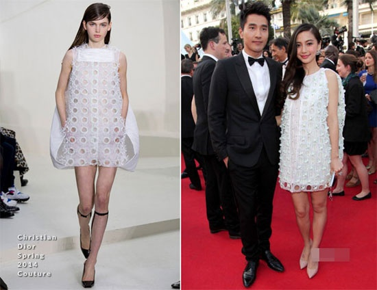 Boc mac loat vay hieu moi cua Angelababy hinh anh 6 Bởi dáng người gầy nên Angela Baby tự tin mặc váy trắng để tăng số đo cho  cơ thể thêm đẫy đà. Bộ váy của hiệu Christian Dior Couture.