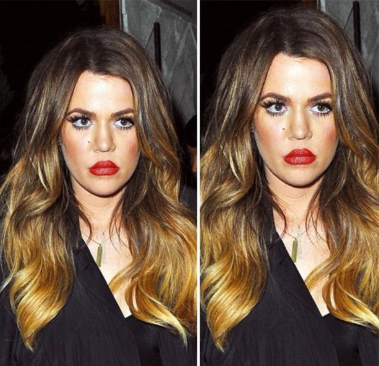Diem mat sao tu bien minh thanh tham hoa trang diem hinh anh 5 Với lông mi giả quá dài, má đỏ quá mức, đôi môi kẻ viền dầy tràn lan ra bên ngoài  đã khiến gương mặt của Khloe Kardashian trở nên vô cùng nặng nề.