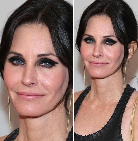 Diem mat sao tu bien minh thanh tham hoa trang diem hinh anh 7 Nữ diễn viên Courteney Cox khiến công chúng phải giật mình vì kẻ  mắt trông như hai con đỉa bám ở trên.
