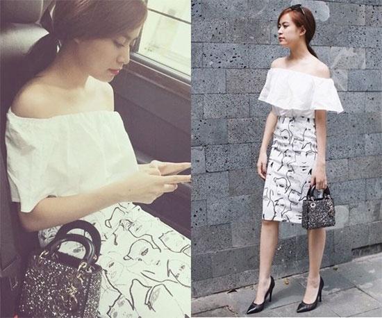 Hoàng Thùy Linh rất thông minh và kĩ càng lựa chọn trang phục đi với phụ kiện. Với chân váy họa tiết, áo trắng trễ vai thì cô lại kết hợp thêm túi Dior màu đen nhỏ xinh.