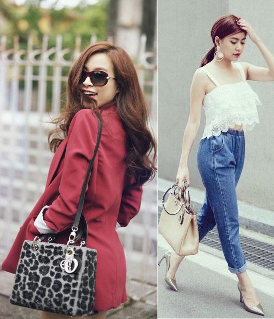 BST tui xach hang ty dong cua Hoang Thuy Linh hinh anh 8 Dior là thương hiệu được nữ ca sĩ lăng xê. Hai mẫu thiết kế quý phái khác của Dior thường xuyên được cô diện.