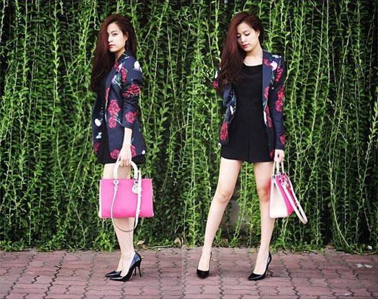 BST tui xach hang ty dong cua Hoang Thuy Linh hinh anh 9 Túi dòng Lady Dior màu hồng dễ thương kết hợp playsuit đen và áo blazer họa tiết hoa tạo nên cho Hoàng Thùy Linh tổng thể hoàn hảo.