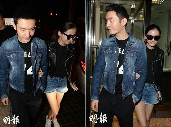 Tuong phu the qua gu thoi trang cua Angelababy, Hieu Minh hinh anh 12 Trang phục jeans phối đối xứng khi hẹn hò.
