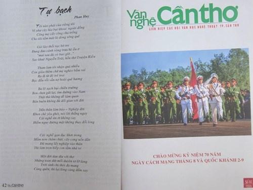 Bìa tạp chí Văn nghệ Cần Thơ số 81 có in bài thơ Tự bạch ở trang 42.