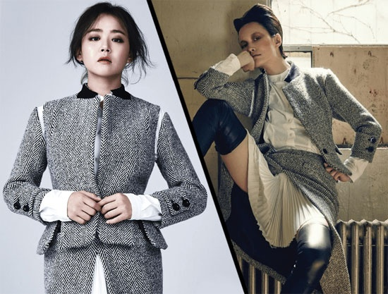 Nhung vu dung hang moi gay chu y nhat cua my nhan Han hinh anh 6 Nữ diễn viên Moon Geun Young và siêu mẫu Song Kyung Ah mỗi người một nét đẹp riêng với trang phục thu 2015 hiệu Sacai.