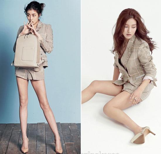 Nhung vu dung hang moi gay chu y nhat cua my nhan Han hinh anh 7 Kang So Ra và Kim So Eun diện bộ trang phục nằm trong bộ sưu tập xuân hè năm 2015 của hiệu Kwak Hyunjoo.