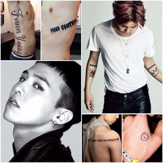 Hinh xam cua cac than tuong xu Han mang y nghia gi? hinh anh 3 Có thể nói G-Dragon chính là nghệ sĩ sở hữu nhiều hình xăm nhất ở Kpop. Đằng sau  lưng của anh là dòng chữ