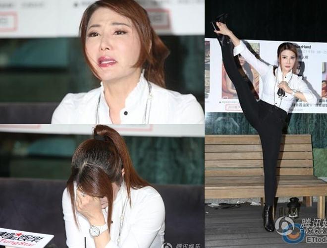 Dương Lệ Thanh và những biểu cảm quá lố trong buổi họp báo. Cô khóc liên  tục và sau đó bình thản thể hiện màn võ thuật, bày tỏ hy vọng sớm ...