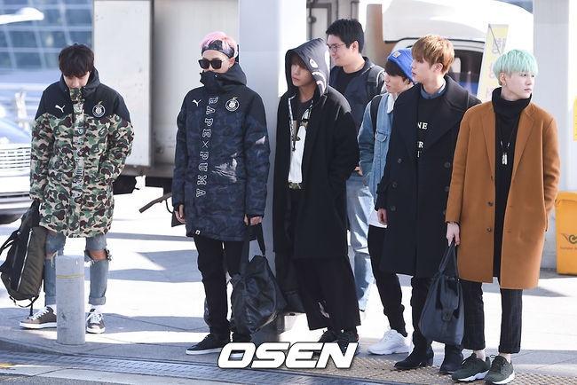 Sao Kpop dong loat len duong du MAMA 2015 hinh anh 3 Nhóm BTS ai nấy đều mặc thật ấm vì tiết trời khá lạnh. Nhóm đang có ca khúc mới Run thống trị các bảng xếp hạng âm nhạc.