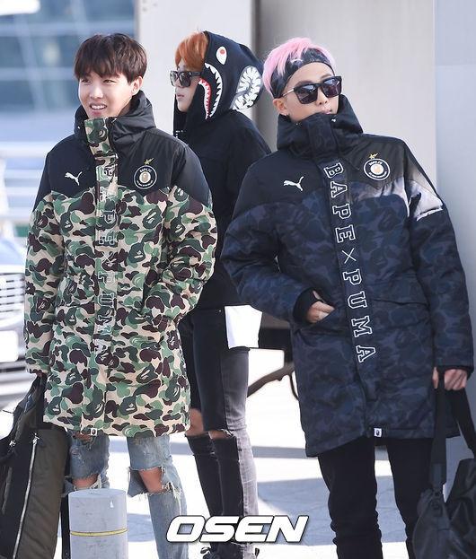 Sao Kpop dong loat len duong du MAMA 2015 hinh anh 4 J-Hope và Rap Monster.