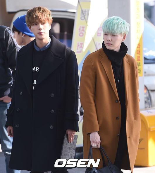 Sao Kpop dong loat len duong du MAMA 2015 hinh anh 5 Jin và Sugar.