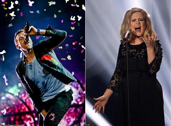 Coldplay that tran truoc Adele ve doanh thu ban dia hinh anh 2 Coldplay không thể đánh bại sức hút album của Adele.