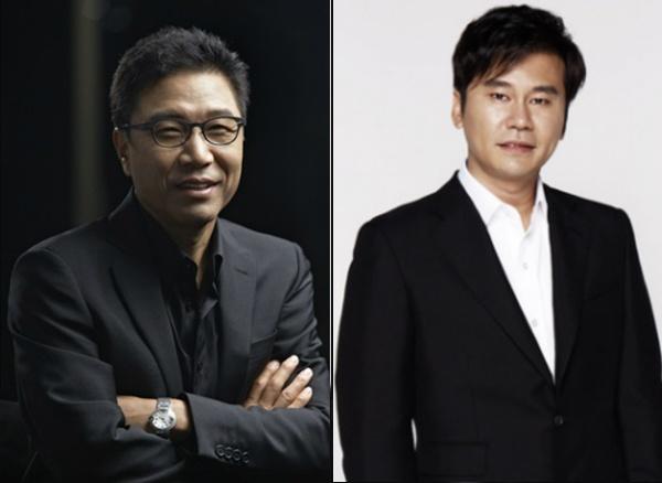 Nhung nhan vat dan dau van hoa pop Han Quoc nam 2015 hinh anh 1 Khởi đầu là những nghệ sĩ gạo cội, Lee So Man và Yang Hyun Suk thành đạt khi chuyển sang kinh doanh âm nhạc.