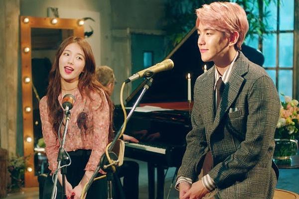 Suzy ket doi thanh vien EXO trong MV moi hinh anh