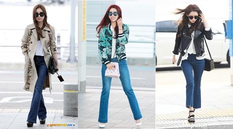 Hoc my nhan Han phoi do jeans ong loe o san bay hinh anh