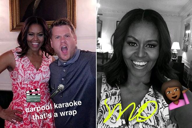 Michelle Obama tham gia Snapchat, hat karaoke gay bao hinh anh