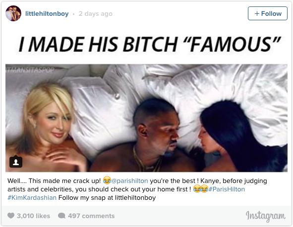 Paris Hilton,  Kylie Jenner chinh thuc dap tra ve MV cua Kanye West anh 1