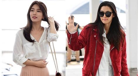 Jun Ji Hyun va Suzy do thoi trang sanh dieu o san bay hinh anh