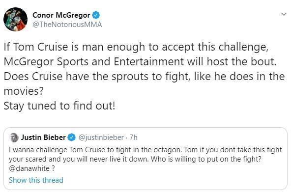 Justin Bieber rut lai loi thach dau Tom Cruise tren san UFC hinh anh 2
