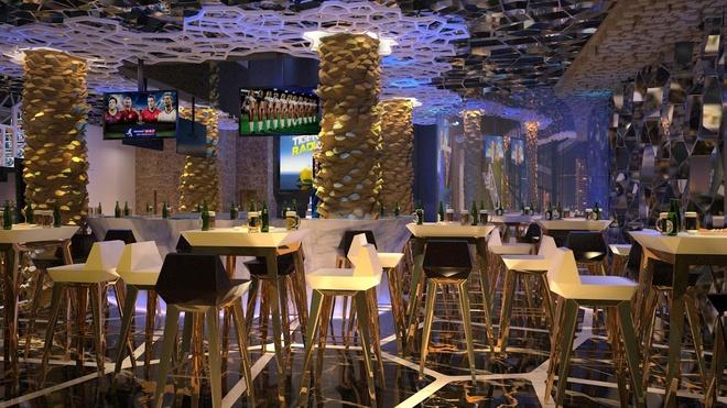 Tan huong phong cach hoang gia tai Hoang Trieu beer club hinh anh 3 Không gian hiện đại đem tới những phút giây thư giãn cho thực khách.