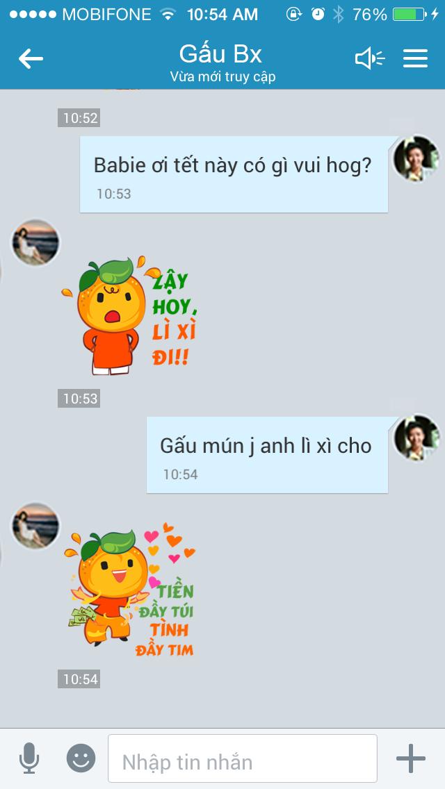 Bo Zalo sticker chuc Tet pha ky luc 1 trieu luot download hinh anh 3 Bộ sticker giúp các cặp đôi dễ dàng thể hiện tình cảm trên ứng dụng Zalo.